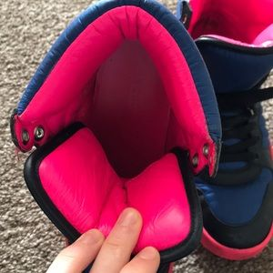 Gucci Shoes - Gucci Coda Neon Leather Hightop in Pink and Blue